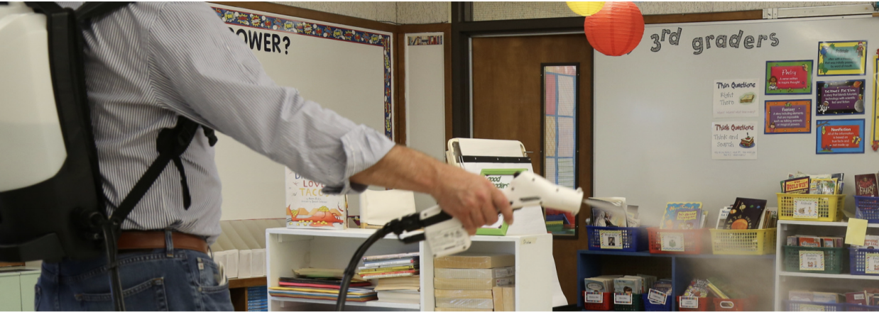 Sanitizing Spray used in a classroom